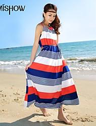 MiShow®Women's  Bohemian Style  Stripe Print Design Sleeveless Casual Loose Plus Size Slim Strap Beach Dresses