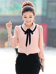 Women's Cute Contrast Bow Collar Half Sleeve Shirt