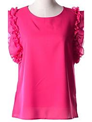 Women's Solid Pink/White/Black/Green/Orange/Yellow T-shirt , Crew Neck Sleeveless Ruffle