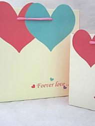 Heart-shaped Cardboard Favor Bags For Wedding  Set of 12(Random Color)