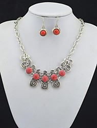 Toonykelly Vintage Look Antique Silver Plated Red Turquoise Stone(Earring and Necklace) Jewelry Set