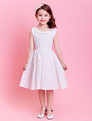 A-line / Princess Knee-length Flower Girl Dress - Cotton Sleeveless Jewel with Buttons