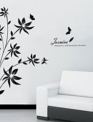 adesivos de parede decalques de parede, simples flor PVC preto videira adesivos de parede