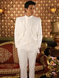 poliéster blanco Slim Fit de tres piezas de esmoquin