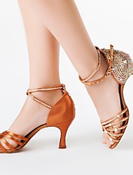 Latin Women's Sandals Flared Heel Satin with Rhinestone Dance Shoes