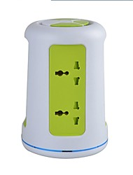 Overload Protector 5V/2.1A 2 Floor EU Adapter Power Strips with 6 Universal Outlets and 2 USB