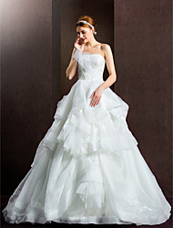 Ball Gown Wedding Dress - Ivory Chapel Train Strapless Organza