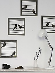 E-HOME® Metal Wall Art Wall Decor, Black Birds Wall Decor Set of 4
