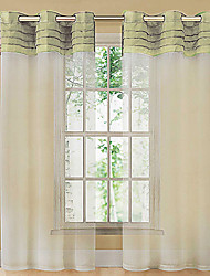 One Panel Curtain Country , Solid Living Room Polyester Material Sheer Curtains Shades Home Decoration For Window