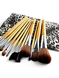 Professional Brush Set with 12Pcs Brushes and Leopard Bag