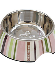 rayures bol de nourriture en acier inoxydable pour animaux chiens