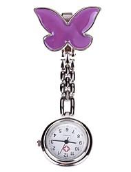женская фиолетовая бабочка иглы цепь пряжка дизайн врач медсестра карманные кварцевые часы
