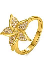 européen or 18k des femmes diamanted cuivre anneaux en argent du compte (1 pc)