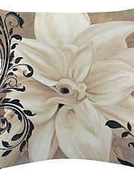 TWOPAGES® Elegant White Floral Pattern Velvet Decorative Pillow Cover