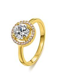 Women's Fashion 18K Round Zircon Diamanted Copper Statement Rings(1 Pc)