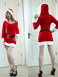 Calentamiento terciopelo profundo escote en V de la Mujer con capucha traje de la Navidad