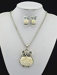 Toonykelly Vintage Look Antique Silver Owl Beige Turquoise Stone(Necklace and Earring) Jewelry Set