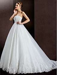 Lanting A-line Wedding Dress - Ivory Court Train Strapless Lace/Organza/Satin