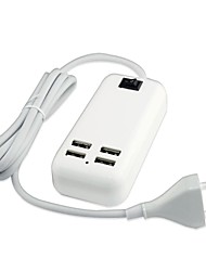 4 USB Port  AC Power Charger Adapter for iPad/iPhone/Samsung and Others  Mobile Phone(15W DC5V 6A,100~240V EU Plug,1.5m)