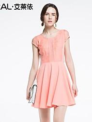 abito estivo di eral®women elegante sottile dolce floreale rappezzatura del merletto o-collo vestito di un pezzo chiffon
