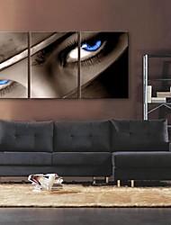 e-FOYER toile tendue es le regarder dans les yeux la peinture décoration ensemble de trois