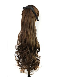 Excellent Quality Synthetic 22 Inch Long Light Brown Curly Clip In Ribbon Ponytail Hairpiece