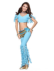 Belly Dance Dancewear Women's Crystal Cotton&Velvet Tassels Outfits Including Top, Bottom, Belt(More Colors)