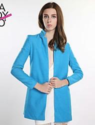 haoduoyi® Women's Stand Collar No Deduction Double Sidekicks Long Sleeve Coat