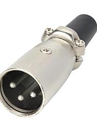3-Pin XLR-Stecker Kanone Stecker / Adapter - Schwarz + Silber