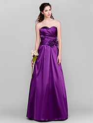 Floor-length Taffeta Bridesmaid Dress A-line Sweetheart Plus Size / Petite with Flower(s) / Criss Cross