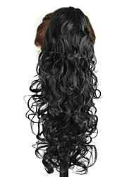 Claw Clip Synthetic 20 Inch Black Long Curly Ponytail