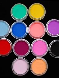 12pcs Farben Skulptur farbigem Acryl Power Nagelkunstdekoration