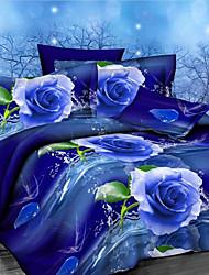 Huacheng conjunto quilt, 4 peças floral print