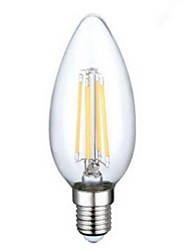 E14 LED Filament Bulbs C35 4PCS COB 400LM lm Warm White Decorative AC 220-240 V