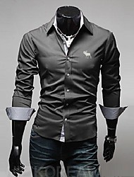 Men's V Neck Classic Moose Embroidery Slim Long Sleeved Shirt