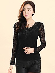 Women's Lace Black Blouse , Round Neck Long Sleeve Lace