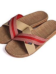 scarpe da donna punta aperta pantofole lino tacco piatto scarpe più colori disponibili
