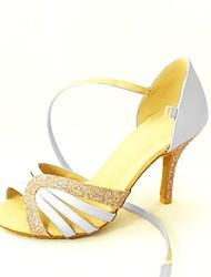 Customizable Women's Dance Shoes Latin/Salsa Satin/Leatherette Customized Heel Black/Blue/Yellow/Pink/Purple/Red/White/Fuchsia