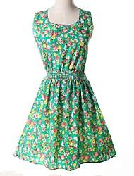 nueva manzana fresca impresión hermosa verde vestido delgado de la mujer