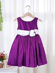 Girl's Solid Dress,Satin All Seasons