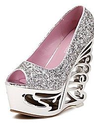 Women's Shoes Peep Toe Wedge Heel Pumps with Sequin Shoes More Colors available