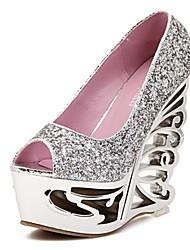 Chaussures femmes peep toe pompes talon compensé avec des chaussures de paillettes plus de couleurs disponibles