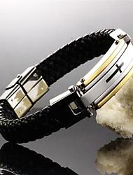 cruz de tecido de couro de aço de titânio fé 24 k banhado a ouro homens jóias pulseira de couro