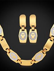 u7®hamsa руки ладонями цепи ожерелье болтаться серьги 18k реальное позолоченные колье ожерелье комплект ювелирных изделий