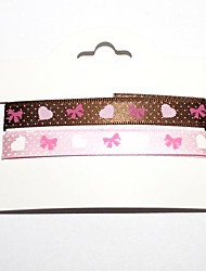 3/8 Inch Bowknot Pattern Rib Ribbon Printing Ribbon- 1 Yards Per Roll (Two Color One Card)