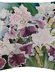 vívida flores brancas e roxas de veludo capa almofadas decorativas