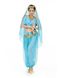 Belly Dance Outfits Women's Performance / Training Chiffon / Polyester Coins Belly Dance / Performance Short Sleeve Natural