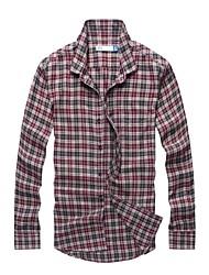 gola de abertura de cama 100% algodão moda casual de manga comprida camisa xadrez de flanela dos homens com a lavagem suave