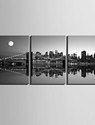 e-FOYER toile tendue ville d'art scène de nuit peinture décoration ensemble de trois