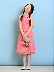 Tea-length Lace Junior Bridesmaid Dress - Watermelon Sheath/Column Jewel